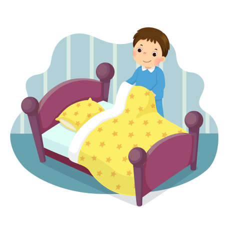 Vector illustration cartoon of a little boy making the bed. Kids doing housework chores at home concept.