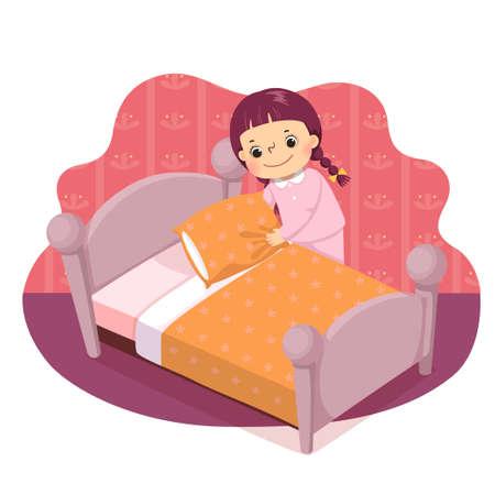 Vector illustration cartoon of a little girl making the bed. Kids doing housework chores at home concept. Vektoros illusztráció