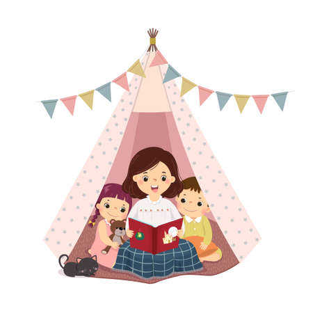 Vector illustration cartoon of a mother reading book and telling story with son and daughter in the teepee tent. Vector Illustration