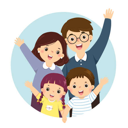 Vector illustration cartoon of a portrait of four members happy family raising up hands. Parents with kids. Vettoriali