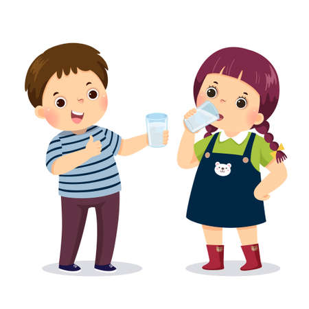 Vector illustration cartoon of a little boy holding glass of water and showing thumb up sign with girl drinking water.