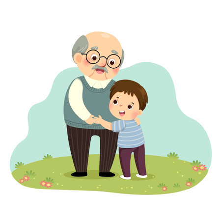 Vector illustration cartoon of a little boy hugging his grandfather in the park. Vektorgrafik
