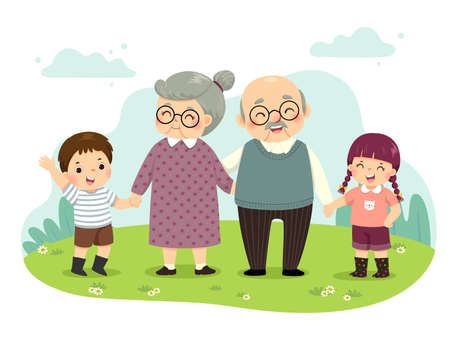 Vector illustration cartoon of grandparents and grandchildren standing holding hands in the park. Happy grandparents day concept.
