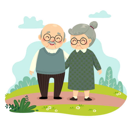 Vector illustration cartoon of elderly couple standing and holding hands in the park. Happy grandparents day concept.