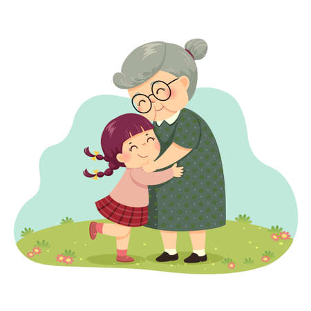 Vector illustration cartoon of a little girl hugging her grandmother in the park.