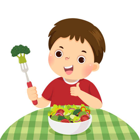 Vector illustration cartoon of a little boy eating fresh vegetable salad and showing thumb up sign.