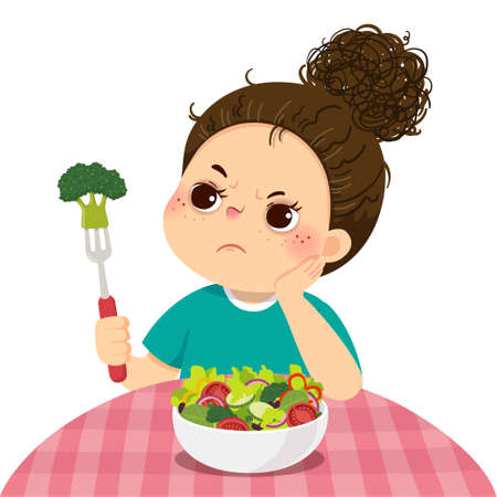 Vector illustration cartoon of an unhappy girl does not want to eat fresh vegetable salad. Vector Illustration