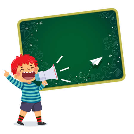 Vector illustration cartoon of a little boy screaming with megaphone, pointing index finger up with blackboard background.