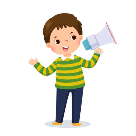 Vector illustration cartoon of a little boy shouting by megaphone and showing his hand.