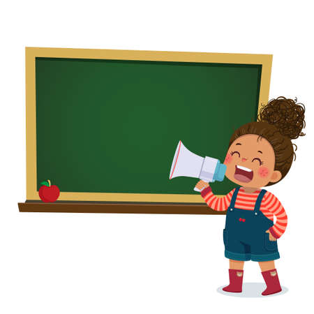 Vector illustration cartoon of a little girl shouting by megaphone and announcing with blackboard.