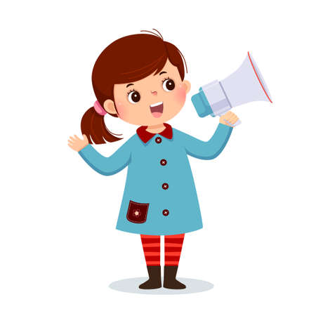 Vector illustration cartoon of a little girl shouting by megaphone and showing her hand.
