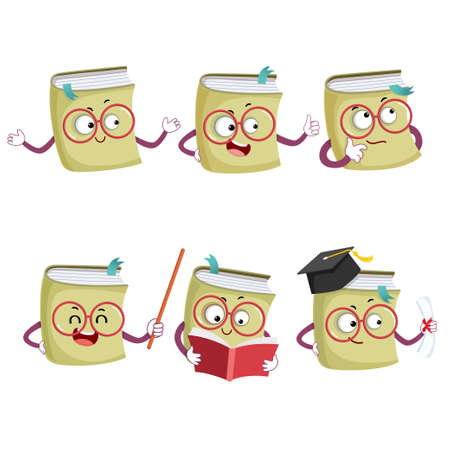 Vector illustration set of happy cartoon book mascot characters in different poses and emotions.