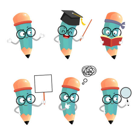 Vector illustration set of happy cartoon pencil mascot characters in different poses and emotions. 向量圖像