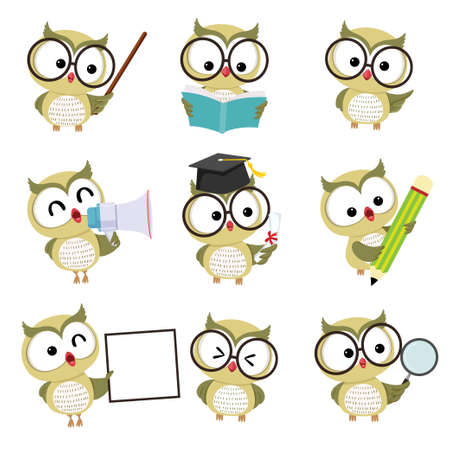 Vector illustration set of happy cartoon owl mascot characters in different poses in education concept.