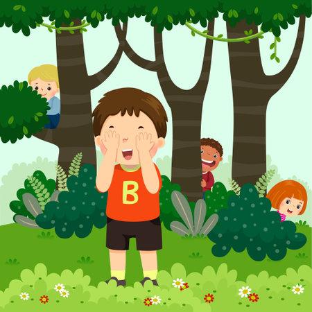 Vector illustration cartoon of children playing hide and seek in the park. Vektorgrafik