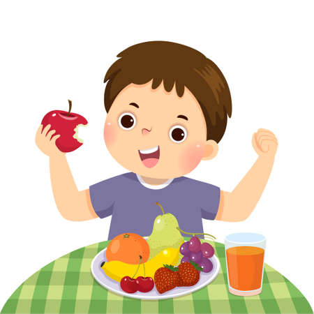Vector illustration cartoon of a little boy eating red apple and showing his strength. Vetores