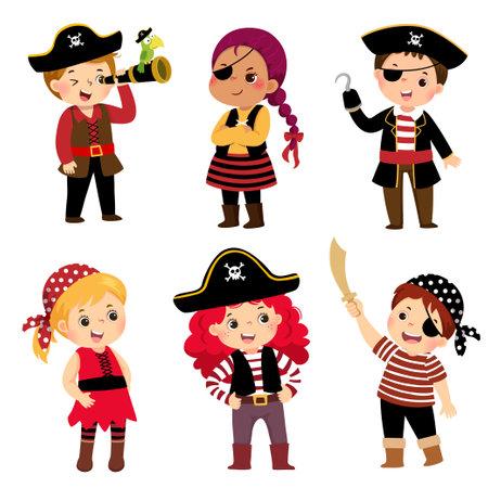 Vector illustration cartoon set of cute kids dressed in pirate costumes. Ilustracja