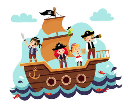 Vector illustration cartoon of kids pirates on the ship at the sea.