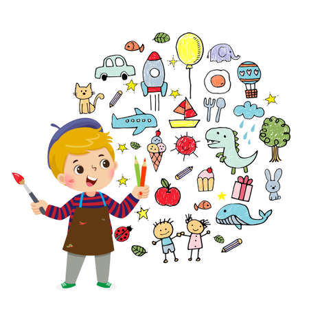 Vector illustration cartoon of little boy artist painting with color pencils and brush on white background. Ilustracja