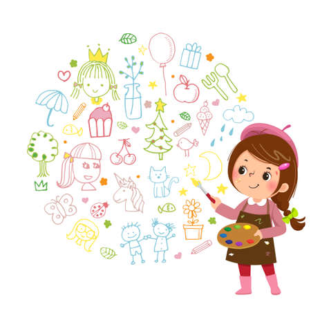 Vector illustration cartoon of little girl artist painting with paints color and brush on white background.
