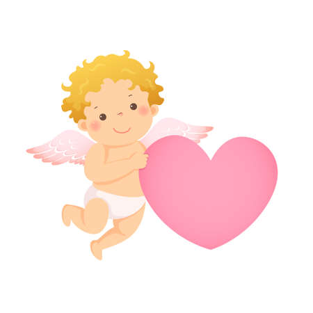 Vector illustration cartoon of little cupid with pink heart shaped. Vector illustration of a Valentine's Day.