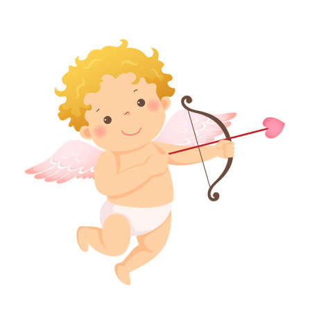 Vector illustration cartoon of little cupid with bow and arrow. Vector illustration of a Valentine's Day. Ilustracja