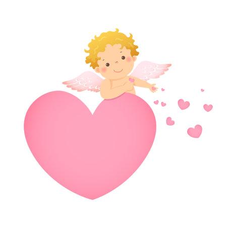 Vector illustration cartoon of little cupid behind pink heart shaped. Vector illustration of a Valentine's Day. Ilustracja