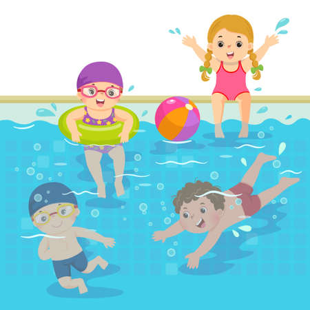 Vector illustration cartoon of happy children swimming in the pool.
