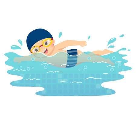 Vector illustration cartoon of little boy swimming in the pool.