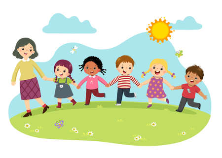 Vector illustration cartoon of female teacher and students holding hands together and walking in the park.