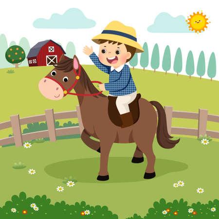 Vector illustration cartoon of little boy riding a horse in the farm. Stock Illustratie
