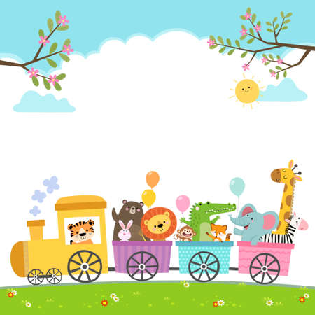 Template for advertising brochure with cartoon of happy animals on the train.