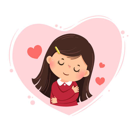 Vector illustration cartoon of a little girl hugging herself on pink heart background. Love yourself concept.