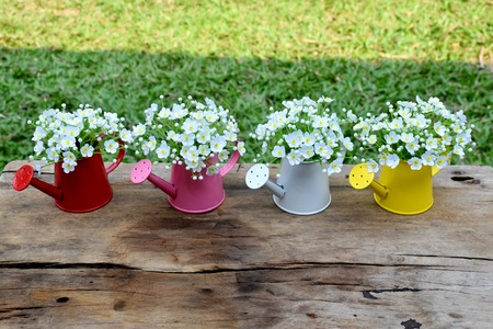 jardines con flores: Decorative white flowers in vase on brown wood table