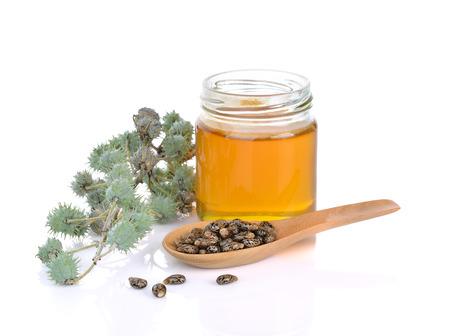 Castor oil with castor fruits, seeds on white background
