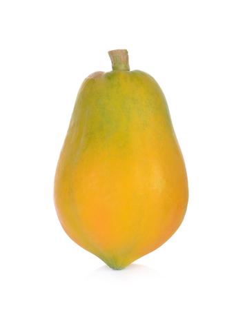 rijpe die papaja op een witte achtergrond wordt geïsoleerd Stockfoto