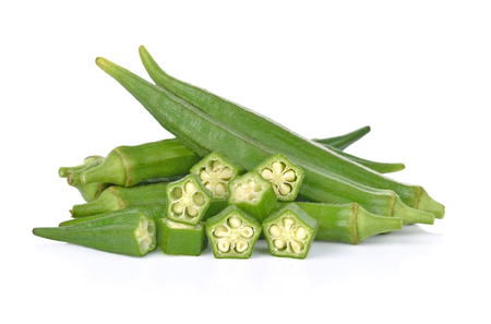okra isolated on white background 版權商用圖片