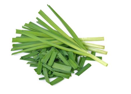 Garlic chives on white background Stockfoto