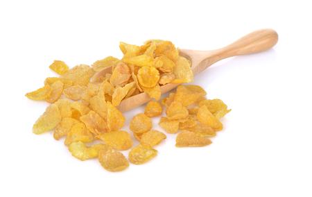 Cornflakes op witte achtergrond worden geïsoleerd die Stockfoto - 90529780