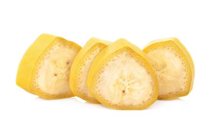 Banana slice isolated on white background Stockfoto