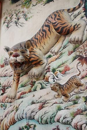 Drawing a tiger.