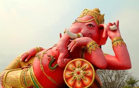 Ganesh,Thai Temple,Saman Rattana Ram Temple Chachoengsao In Thailand  Stock Photo