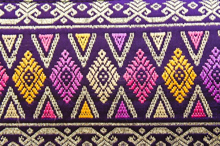 ancient thai woven cloth Stock Photo