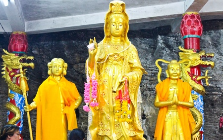 Golden Chinese goddess statue Stock Photo - 12650859