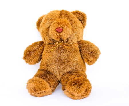 Toy teddy bear isolated white