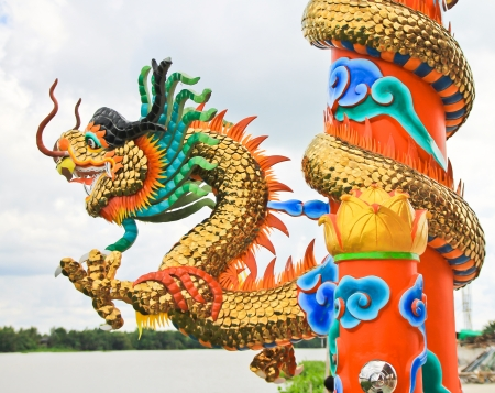 Chinese style dragon statue in temple Stock Photo - 16651469