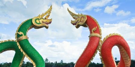 Thai dragon or king of Naga statue in thailand Stock Photo - 16651455
