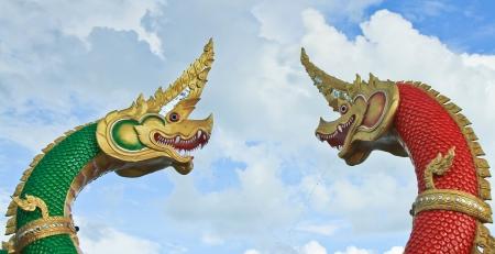 Thai dragon or king of Naga statue in thailand Stock Photo - 16651457
