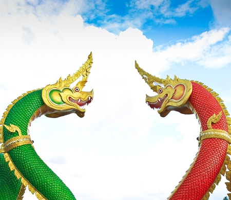 Thai dragon or king of Naga statue in thailand Stock Photo - 16651458