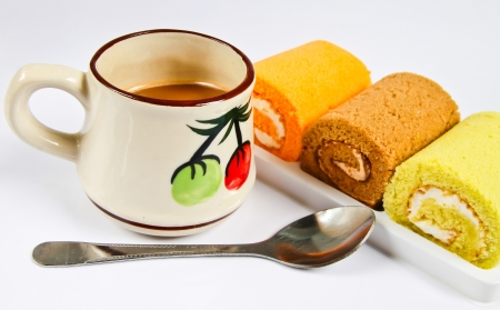 cake roll and coffee photo